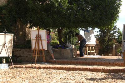 Pintando en La Alcazaba